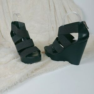 BCBGeneration Black Strappy Wedge Heels